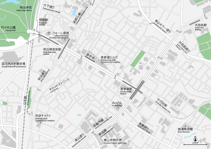原宿・表参道・青山 地図素材