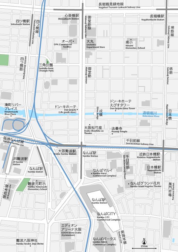 大阪なんば・心斎橋 地図素材