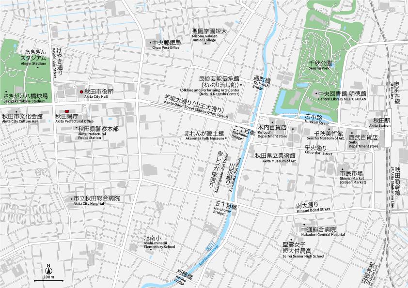秋田駅周辺 地図素材