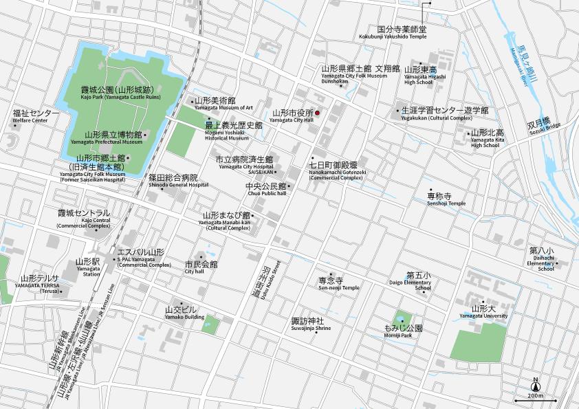 山形駅周辺 地図素材