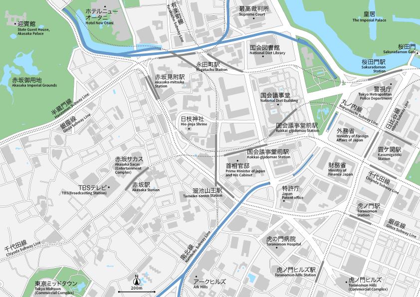 赤坂・永田町・霞ヶ関 地図素材