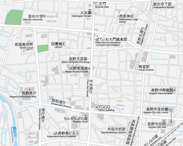 長野駅周辺 地図素材