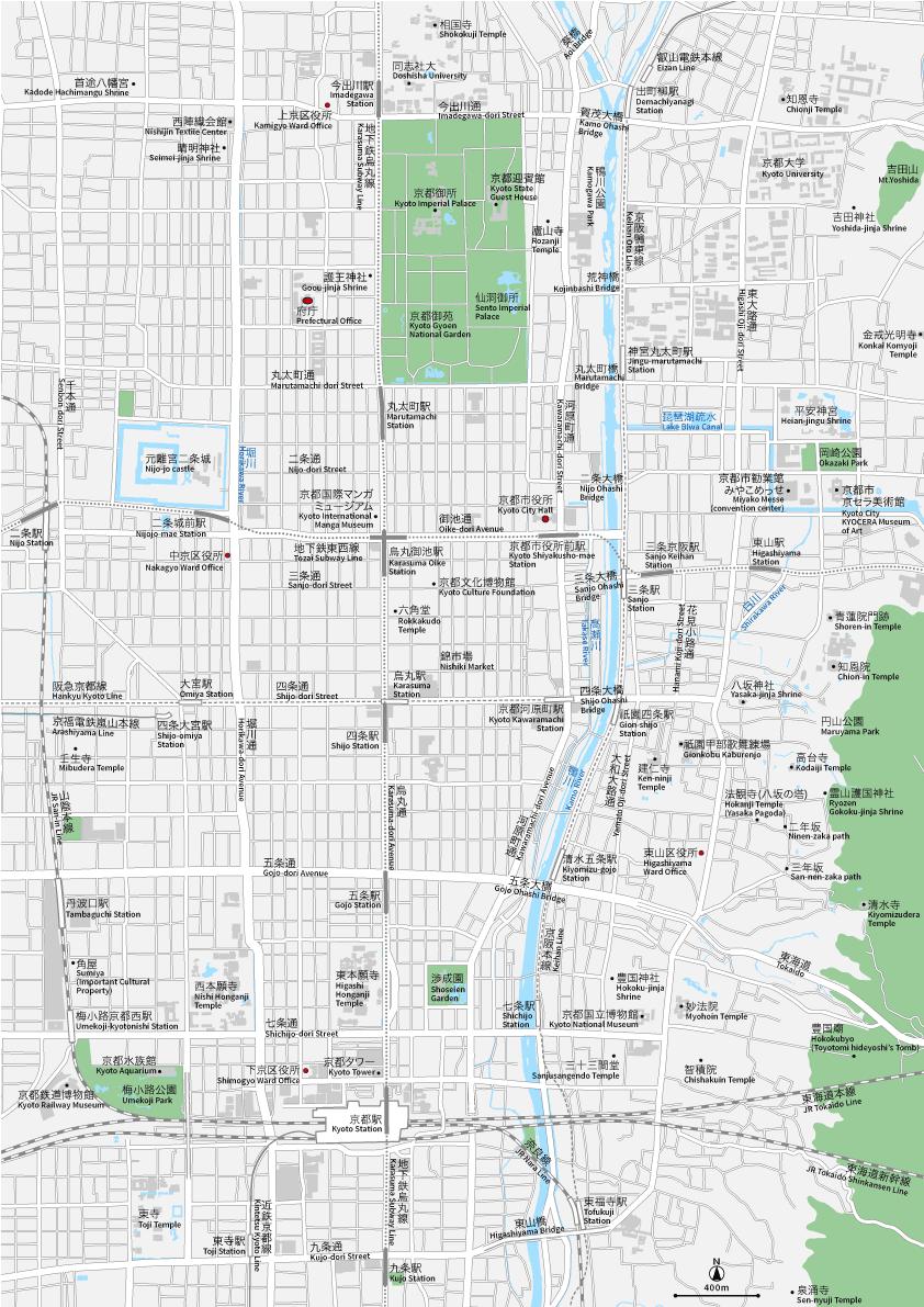 京都中心部 地図素材