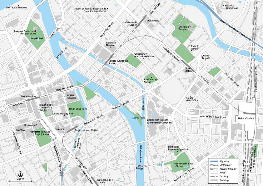 Fukuoka Hakata Vecter map