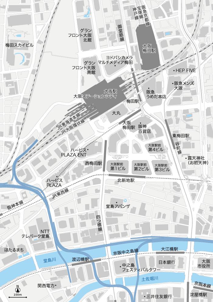 大阪駅周辺 地図素材