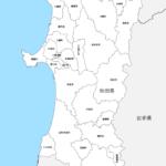 秋田県 市区町村別 白地図