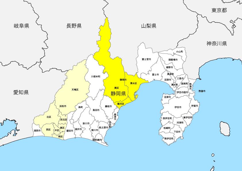 静岡県 市区町村別 白地図