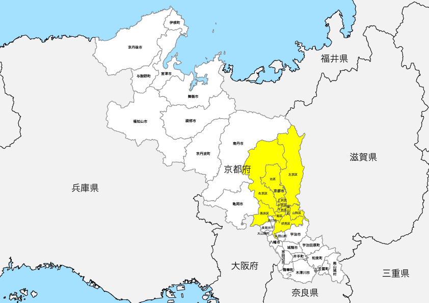 京都府 市区町村別 白地図