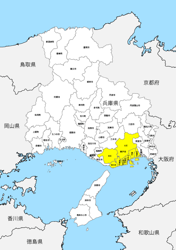 兵庫県 市区町村別 白地図