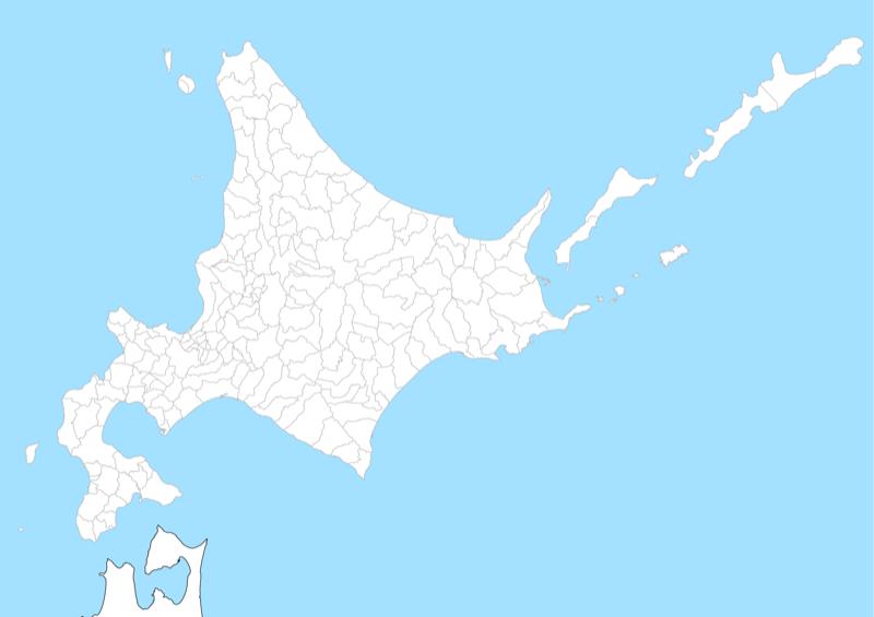 北海道 白地図 市区町村界 フリー素材