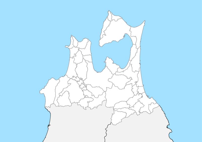 青森県 白地図 市区町村界 フリー素材