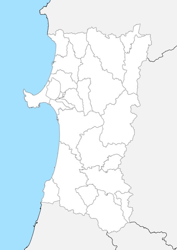 秋田県 白地図 市区町村界 フリー素材