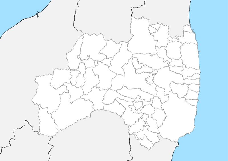 福島県 白地図 市区町村界 フリー素材