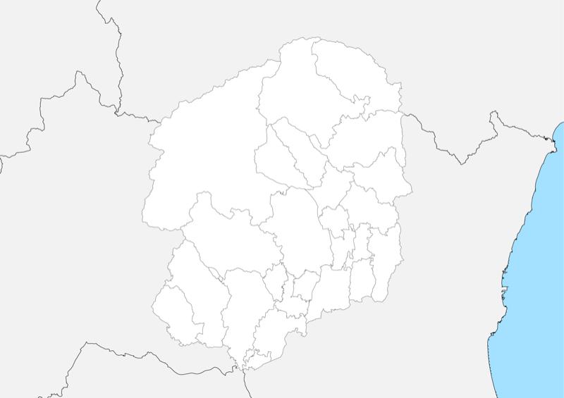 栃木県 白地図 市区町村界 フリー素材