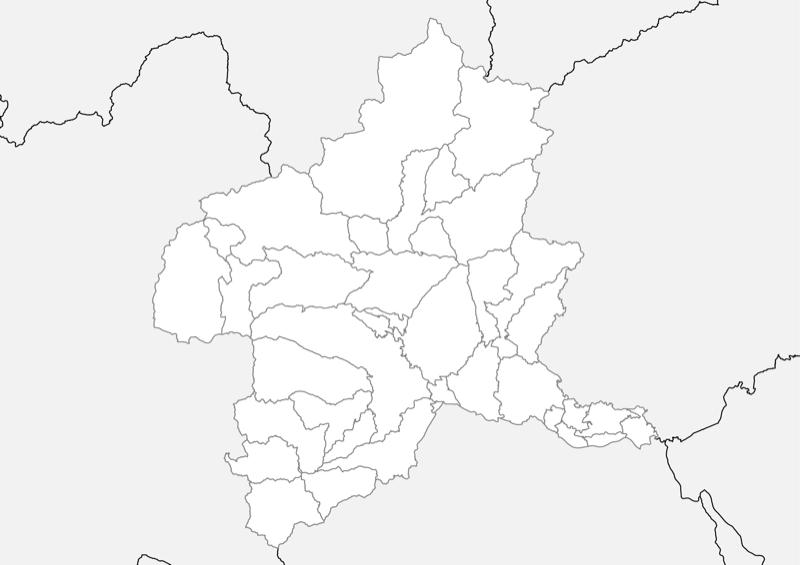 群馬県 白地図 市区町村界 フリー素材
