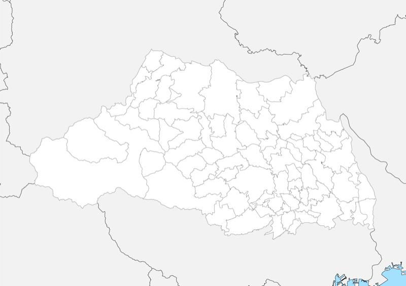 埼玉県 白地図 市区町村界 フリー素材