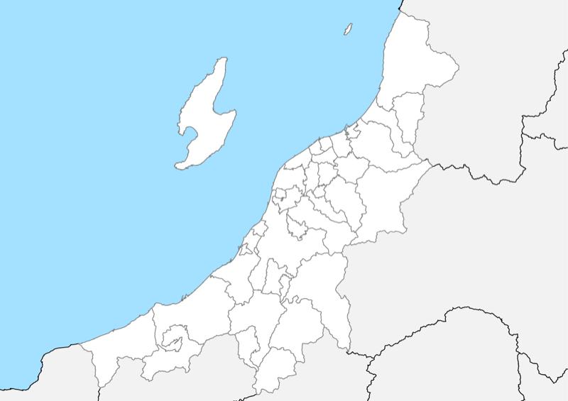 新潟県 白地図 市区町村界 フリー素材