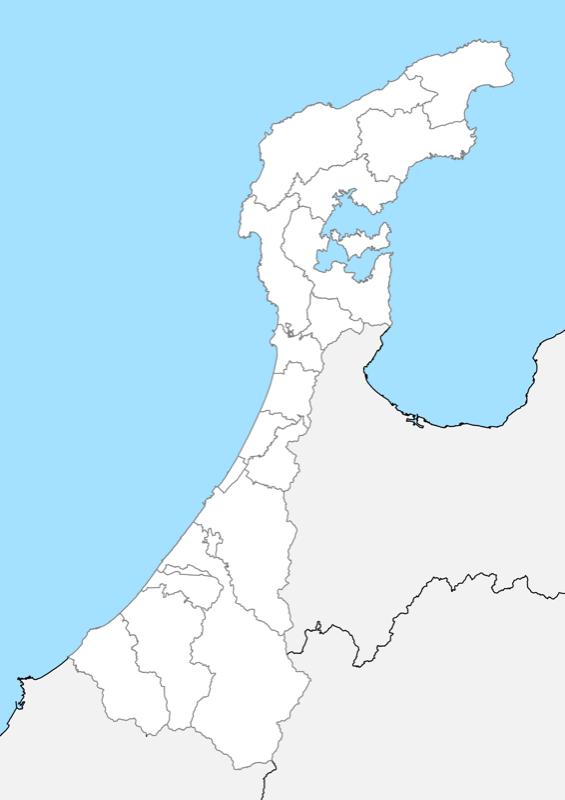 石川県 白地図 市区町村界 フリー素材