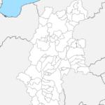 長野県 白地図 市区町村界 フリー素材