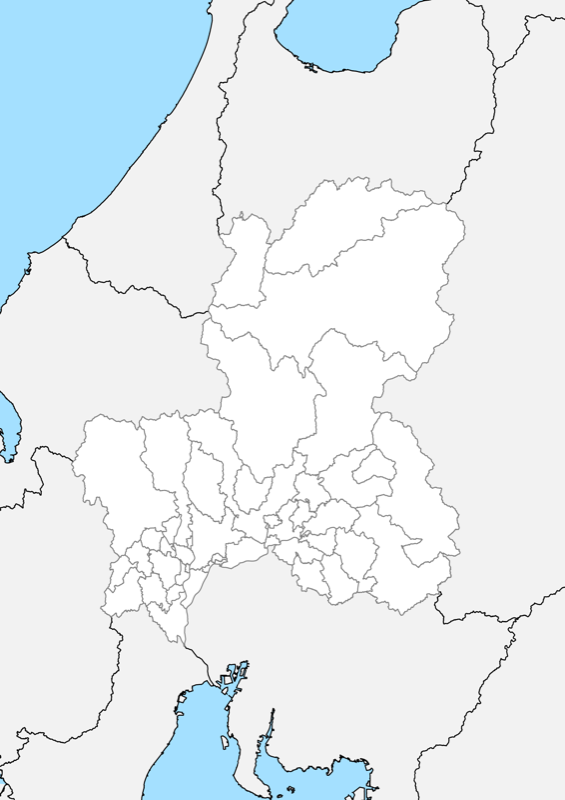 岐阜県 白地図 市区町村界 フリー素材