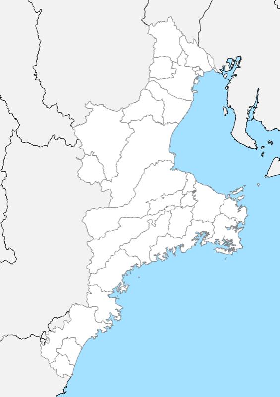 三重県 白地図 市区町村界 フリー素材