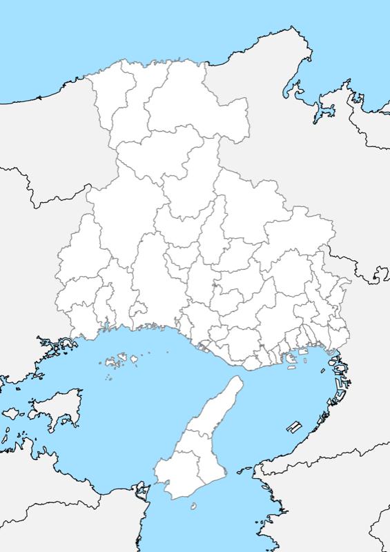 兵庫県 白地図 市区町村界 フリー素材