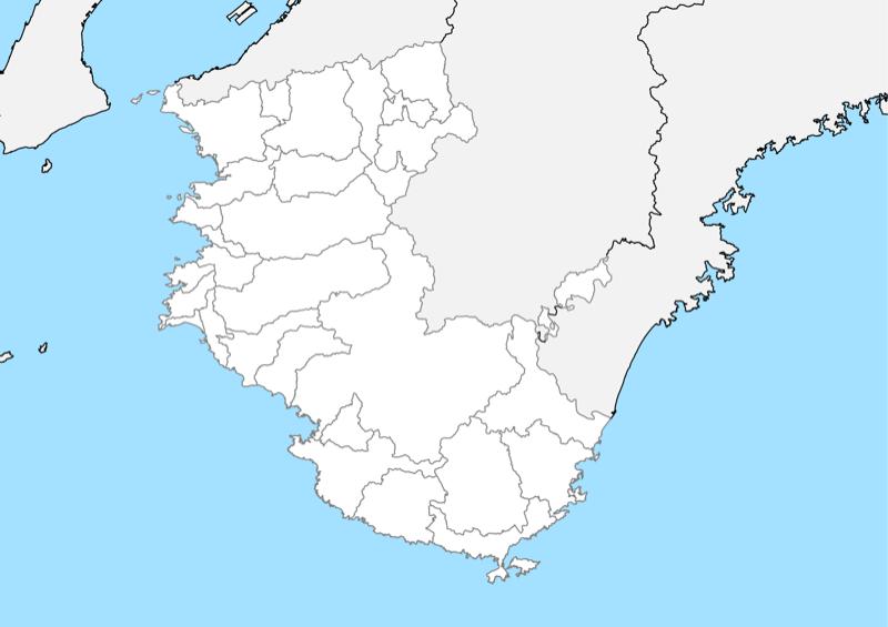 和歌山県 白地図 市区町村界 フリー素材