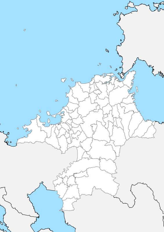 福岡県 白地図 市区町村界 フリー素材