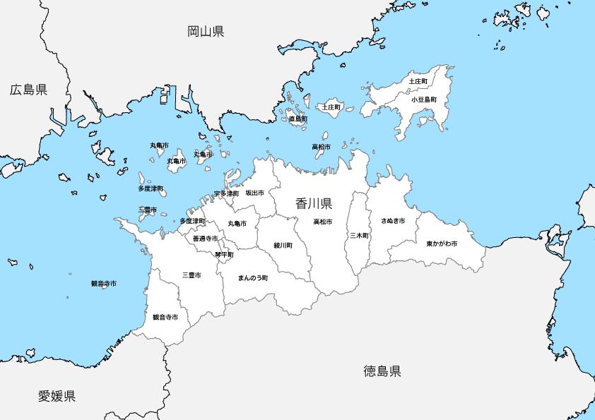 香川県 市区町村別 白地図