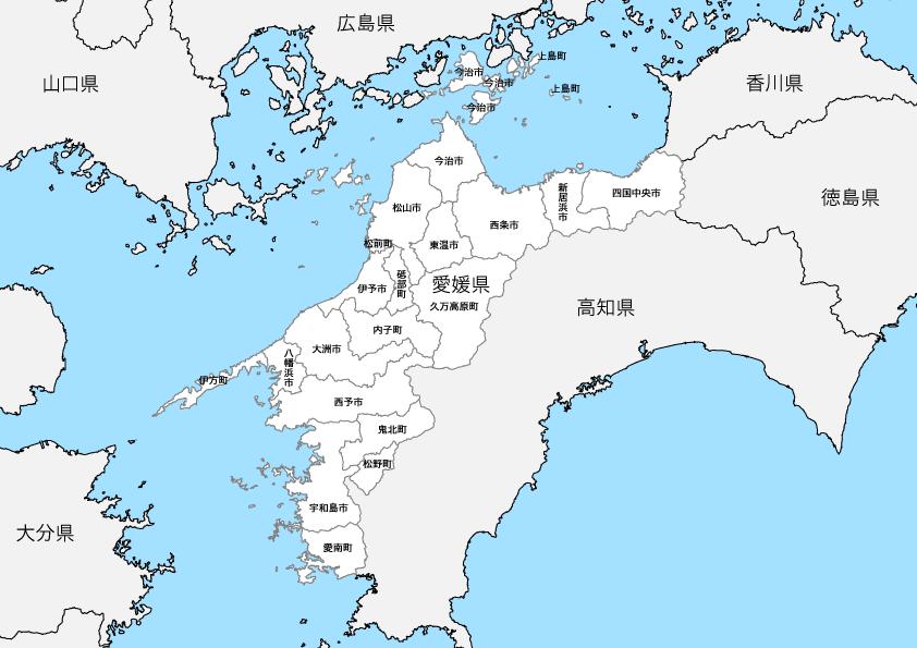 愛媛県 市区町村別 白地図