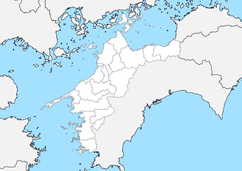 愛媛県 白地図 市区町村界 フリー素材
