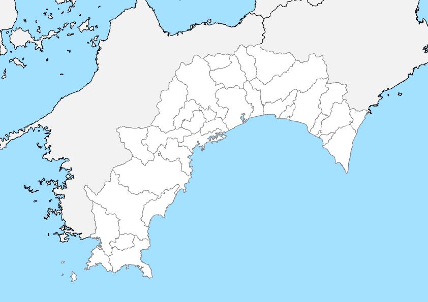 高知県 白地図 市区町村界 フリー素材