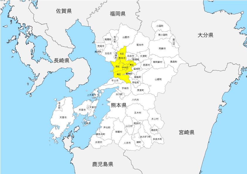 熊本県 市区町村別 白地図