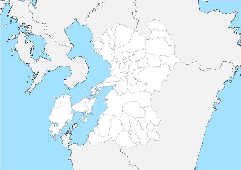 熊本県 白地図 市区町村界 フリー素材