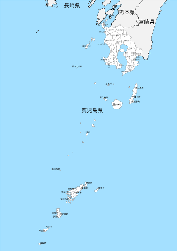 鹿児島県 市区町村別 白地図