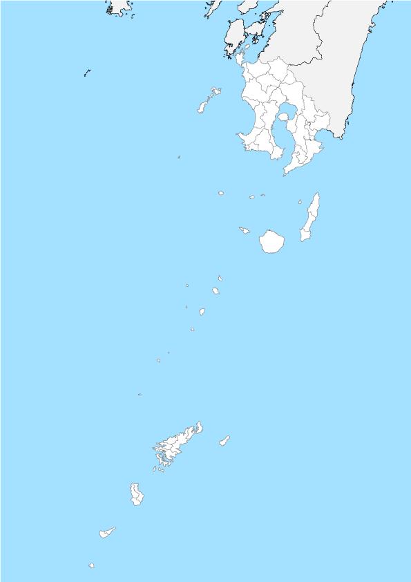 鹿児島県 白地図 市区町村界 フリー素材